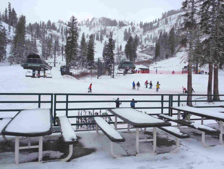 Alpine base in snow